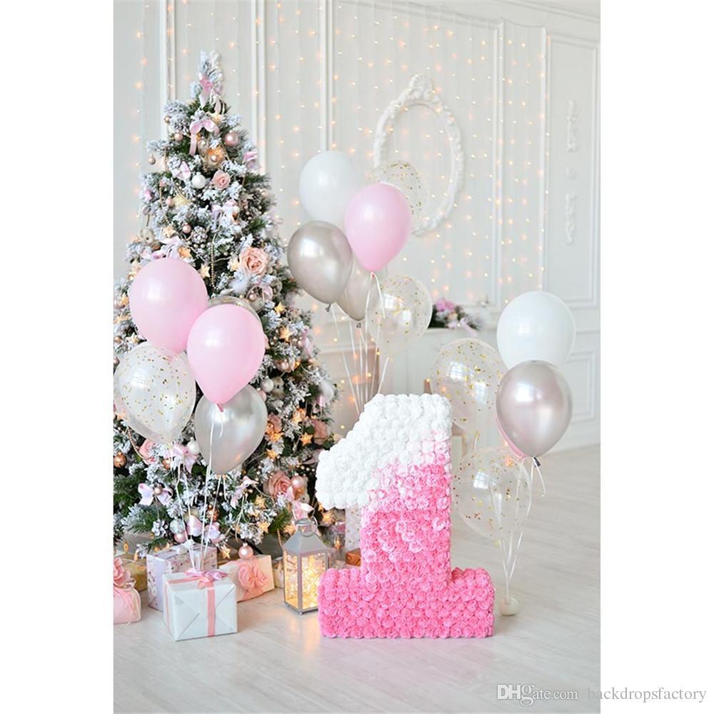 Grosshandel Baby 1 Geburtstag Foto Hintergrund Gedruckt Luftballons