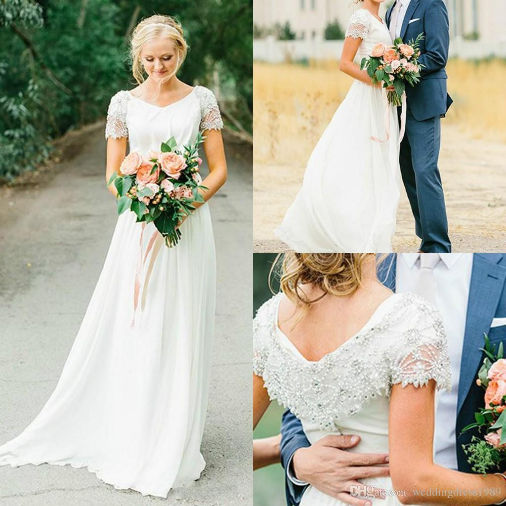 Country Western A Line Cheap Chiffon Bridal Gowns Beaded: Discount Elegant Chiffon Garden Beads Wedding Dresses Cap