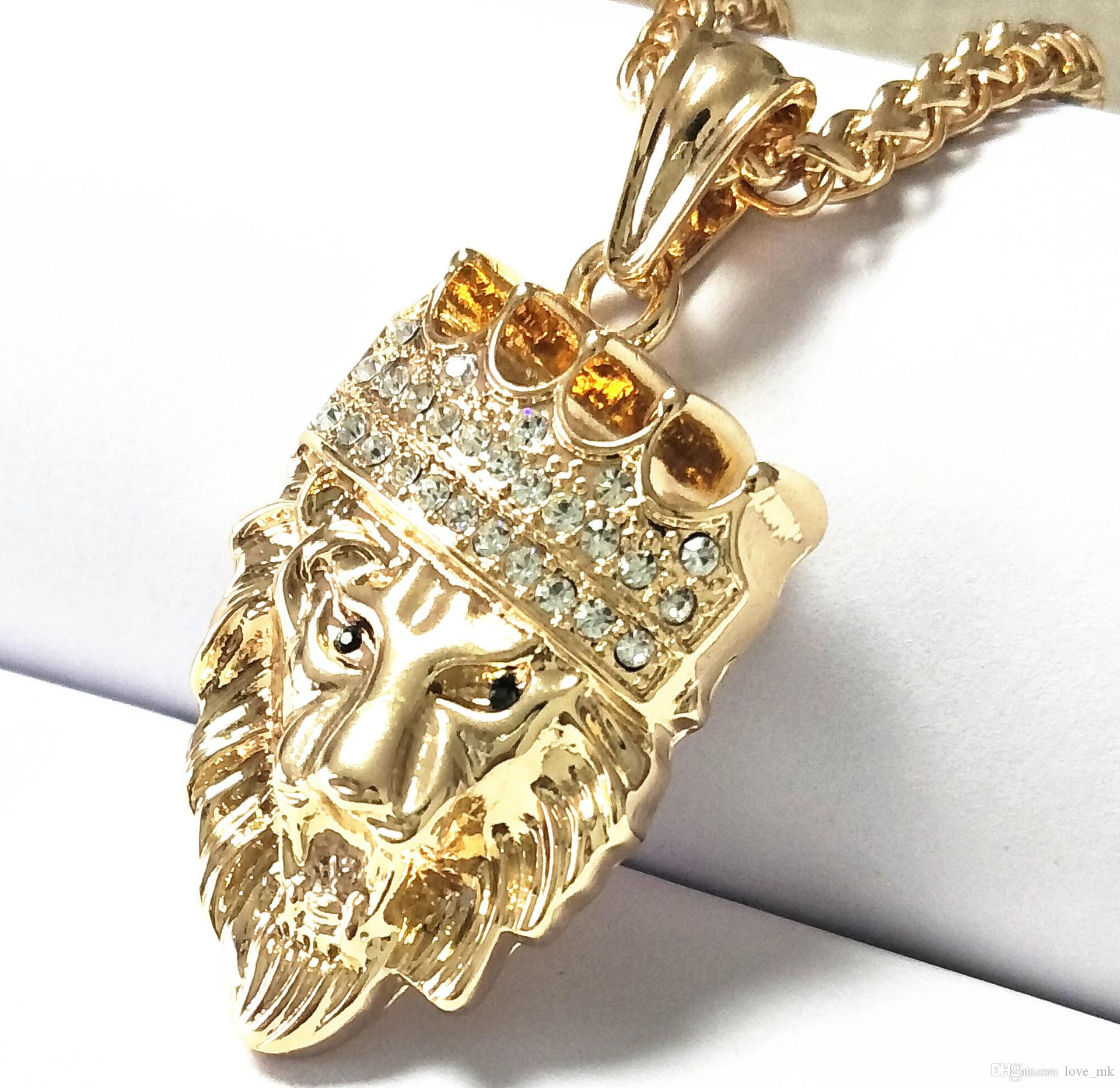 pnd yellow pendant diamond lion gold ct real