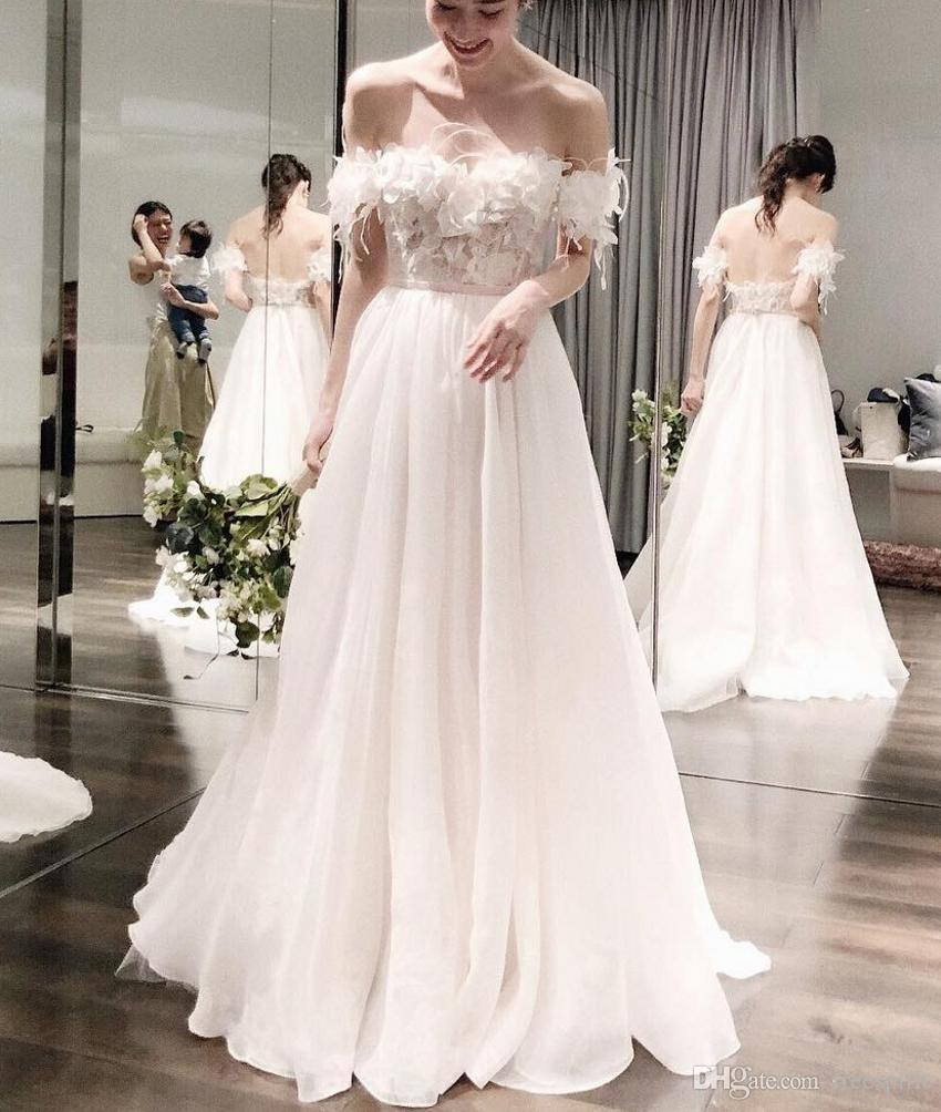 Discount Long Flowy Ivory Wedding Dress For Beach Sweetheart Off The
