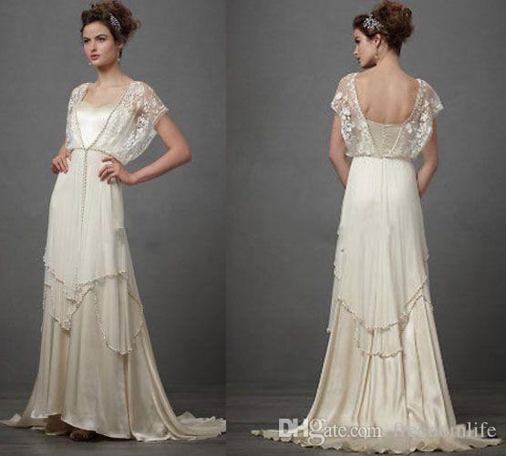 compre vestidos de novia vintage de marfil de los años 20 con mangas