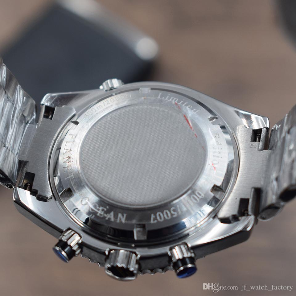 2018 Top James Bond 007 Skyfall Homens Relógios Sports Quartzito cronógrafo Moda Planet Ocean 600M Todo o aço dos homens relógio de pulso