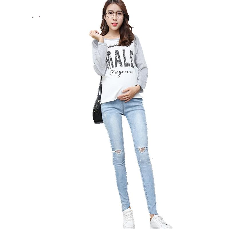 8b1a6dffd14f5 Yuanjiaxin New Arrival Pregnant Women's Fashion Hole Jeans Maternity  Narrow-leg Pencil Pants High-waist Stretch Tight Jeans