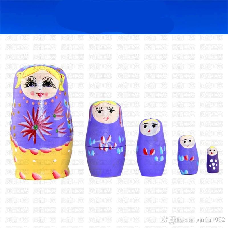 5 Layers Hand Painted Nesting Dolls Ornament DIY Wooden Tourist Souvenir Arts And Crafts National Doll Intelligence Toy Gift 6 5fq W