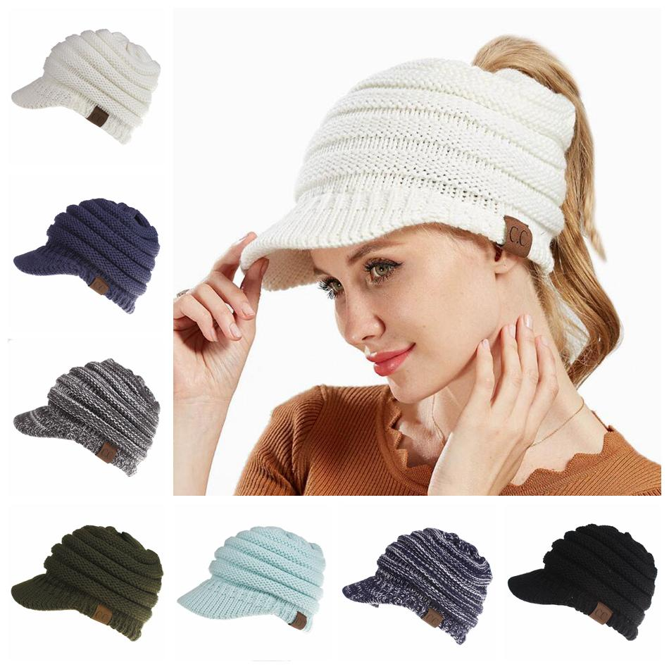 d3ca73c07bb CC Ponytail Hats Knitted Baseball Beanie Warm Caps Crochet Hat Messy ...
