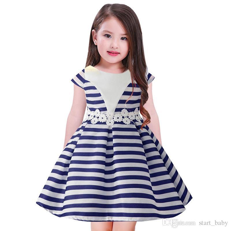607cf901d6ee4 Acheter Enfants Princesse Robe De Bal Robe De Mariage Pour Filles Enfants  Manches Courtes Robes Rayées Bébé Fille Robes De Fête D anniversaire  Vêtements B11 ...