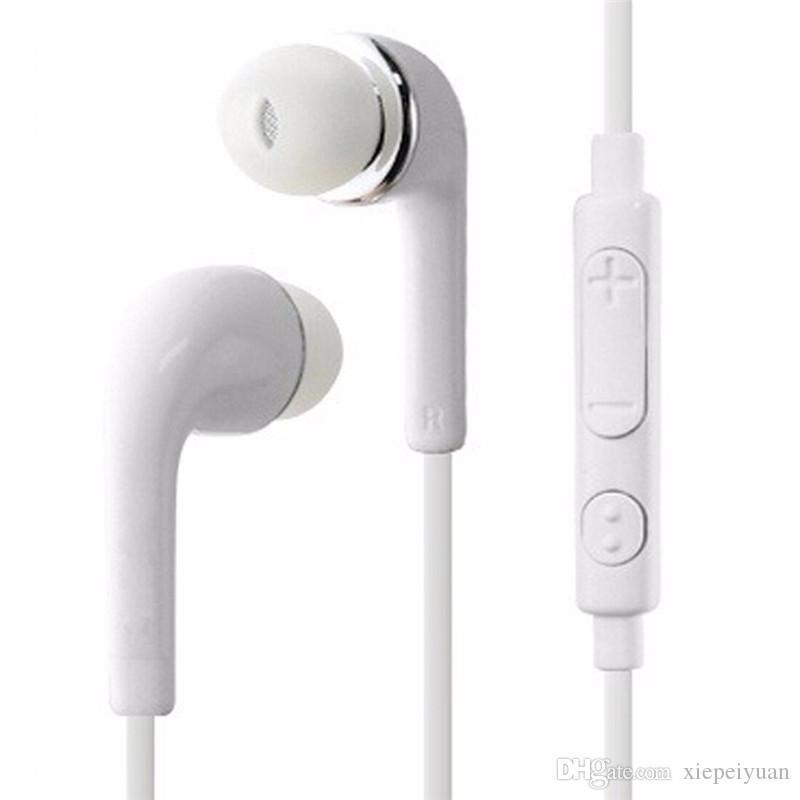 J5 Stereo Kulaklık 3.5mm Kulak düz şehriye Kulaklıklar Kulaklık için Mic ve Uzaktan Kumanda ile Samsung Galaxy S3 S4 S5 S6 Not 2 3 4 MQ500
