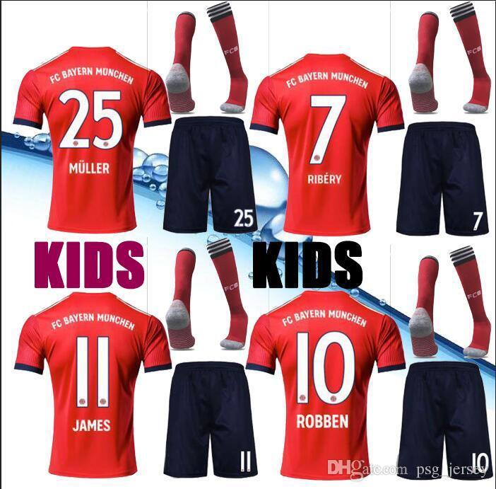 newest 81c77 0b4d4 New 18/19 Top Bayern soccer Jersey kids Kit JAMES RODRIGUEZ LEWANDOWSKI  MULLER KIMMICH HUMMELS Football Shirt uniforms
