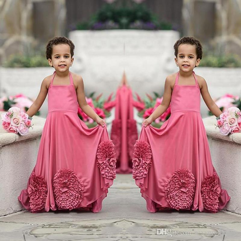 82096ddb0b3 Hot Pink Halter Flower Girl Dresses For Wedding Simple Chiffon Ruffles Flowers  Girls Pageant Gowns Cheap Custom Made Baby Girl Party Dress Dresses Online  ...