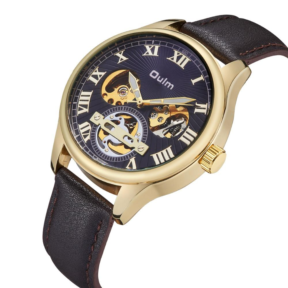 Watches Oulm Classic Golden Skeleton Mechanical Watch Men Genuine Leather Strap Top Brand Luxury Man Watch Vip Drop Shipping Wholesale Men's Watches