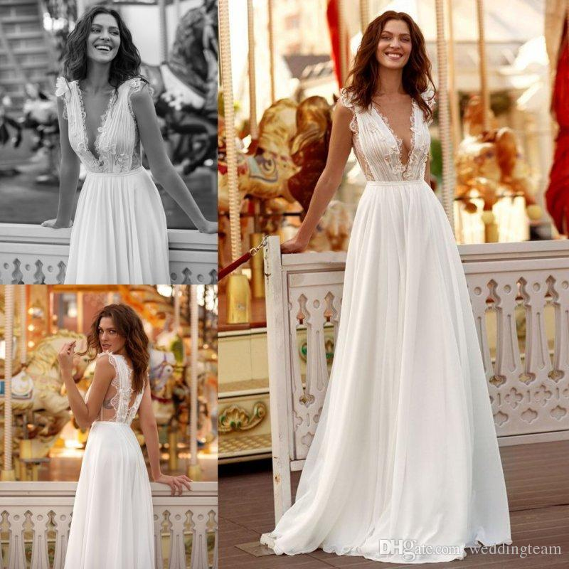 Weddings & Events 2019 Modern Berta A Line Garden Beach Wedding Dresses Beads 3d Applique Sexy Plunge V Neck Tulle Backless Bridal Gowns Hottest
