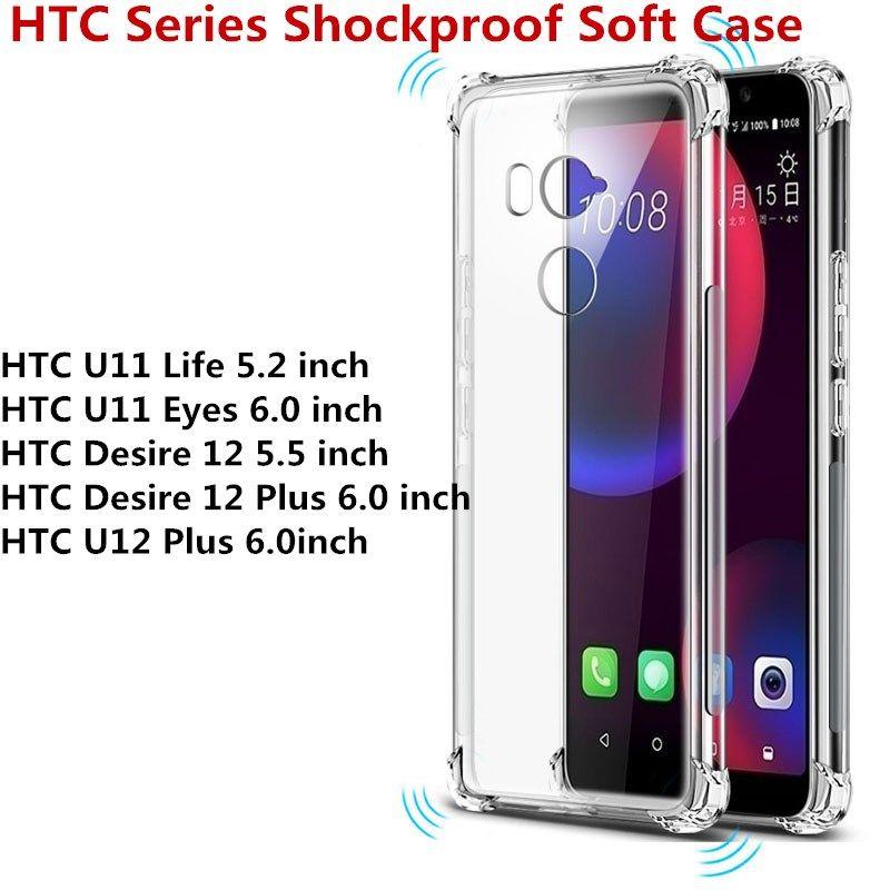 194f91dc3a884 Für HTC Serie HTC U11 Leben U11 Augen Wunsch 12 Desire 12 Plus U12 Plus  Transparent Antiklopf Klar Stoßfest Weich TPU Fall