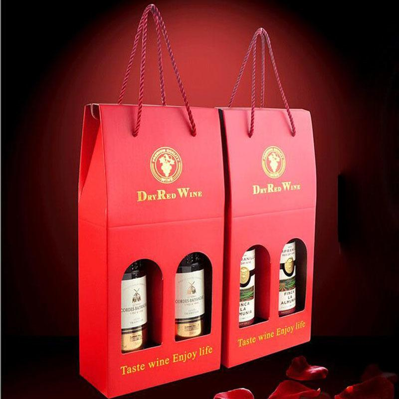 Luxury Red Wine Gift Bag Double Branched Kraft Paper Bag Vinho Packaging Gifts Box Party Birthday Portable Packing Use Za3282