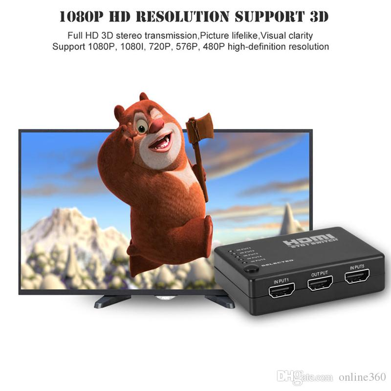 High Quality 5 In 1 Out HDMI Switcher HD Video Switch Splitter Adapter With USB Power Cable For HDTV XBOX DVD Projector 3D 1080P