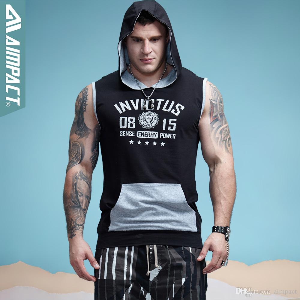 1d373c8dfab737 2019 AIMPACT Cotton Sleeveless Hoodies For Men Workout Gym Bodybuilding  Muscle Cut Tank Tops Male Activewears AM1011 From Aimpact