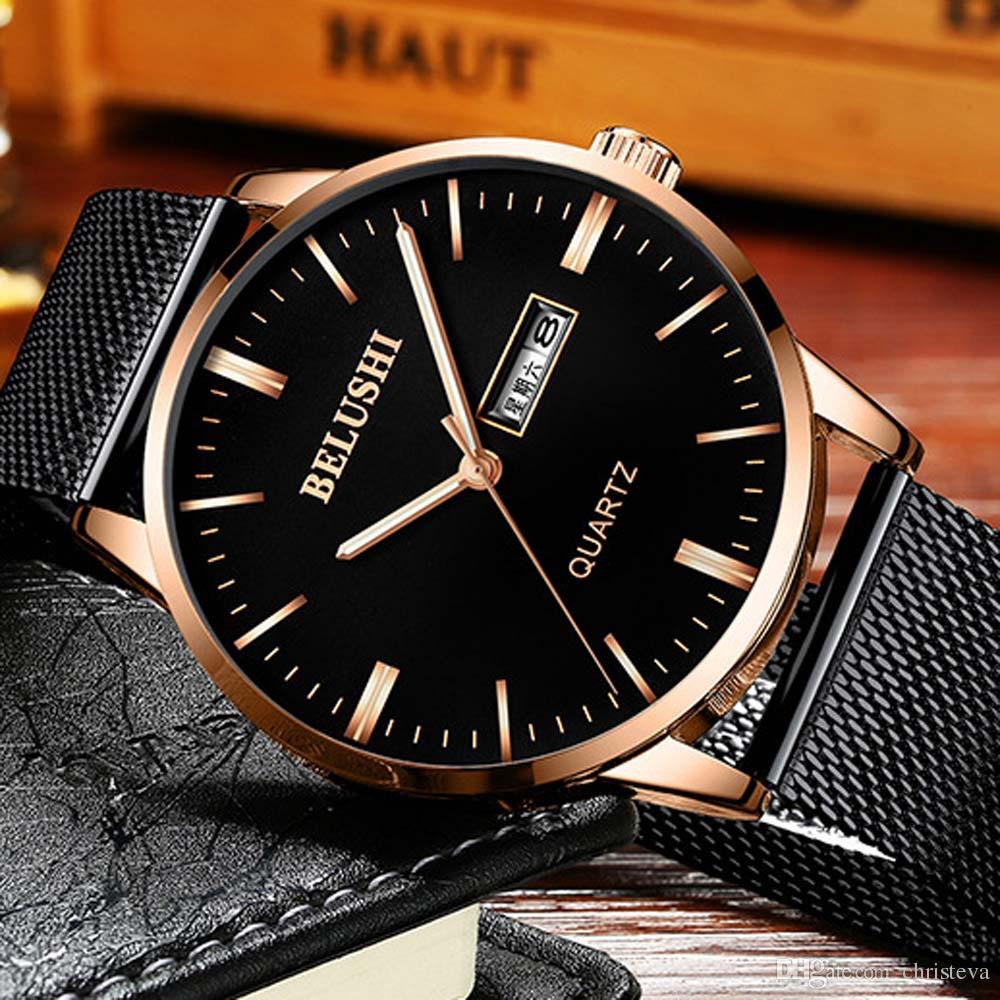 Mens Watches 2018 Top Brand Fashion Luxury Business Wristwatch Men Quartz Business Watch Man Clock Bayan Kol Saati BELUSHI Time Men's Watch