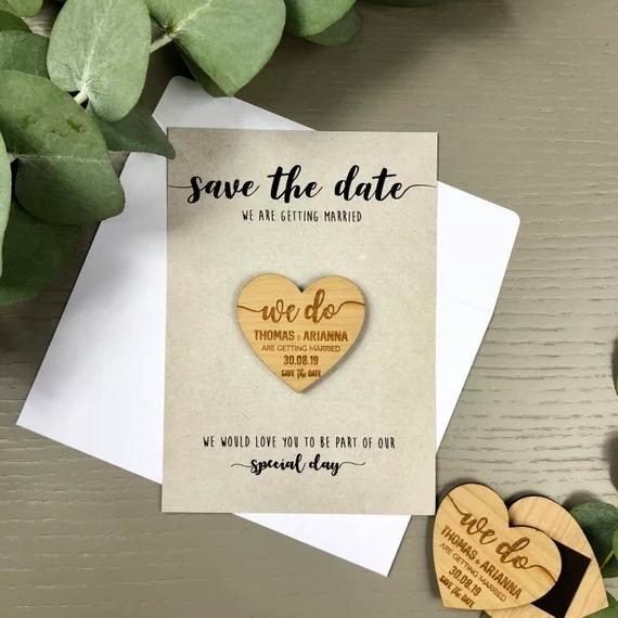 Personalize Names Date Engraved Wooden Card Save The Wedding Invitations Magnets Invitation Rustic Heart Summer Gifts Birthday Party Souvenirs