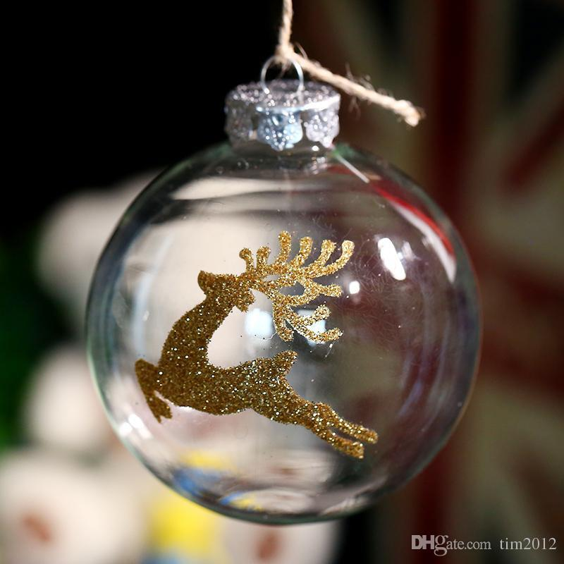 Clear Glass Ball Ornament Christmas Decoration / Gold Deer / Party Event Supplier 80mm x 4pc Freeshipping Wholesale Factory