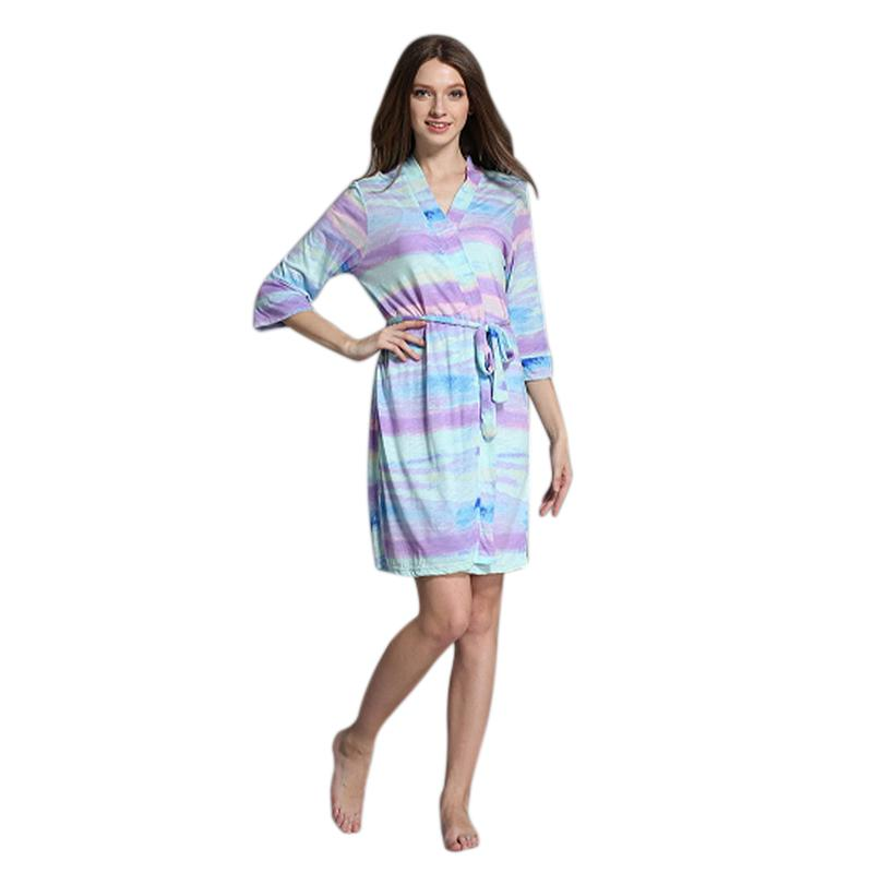 Hot Sale Fashion Women Rainbow Pajamas Robe Sweet Bandage Nightgowns Cotton  Large Size Home Wear Rainbow Stripes UK 2019 From Piaose 5a646e180