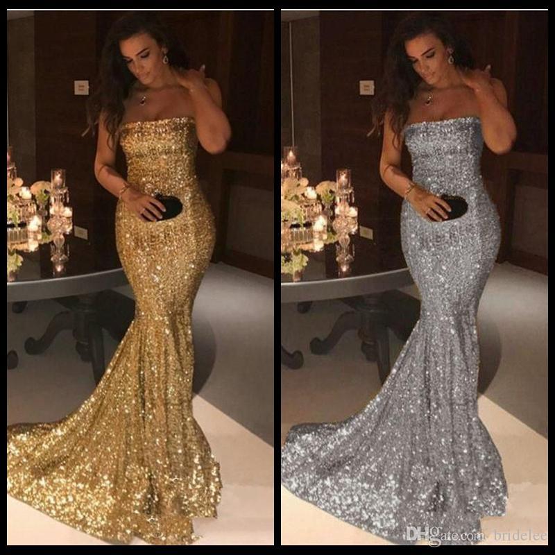 2019 novo espumante strapless bling lantejoulas sereia vestidos de noite de prata trem da varredura de ouro formal do partido vermelho tapete fugir vestidos de baile