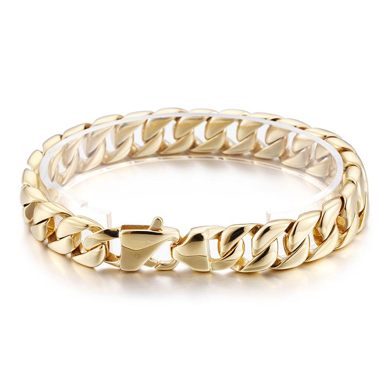 fe9ee9c486 free shipping best seller Fashion Jewelry for women Men Hip Hop Gold  Stainless Steel Casting Curb Chain Link Bracelet 12mm 9 in