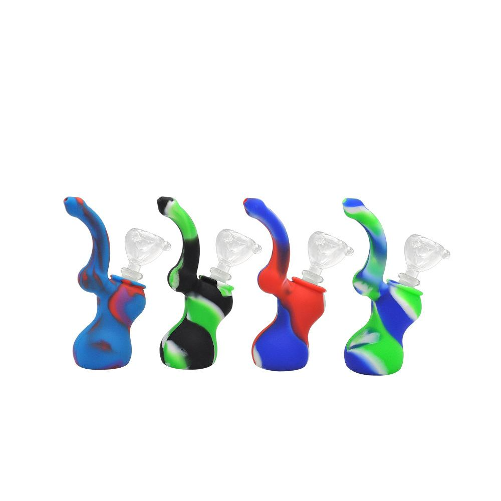 Silicone Sherlock Dab Rig Water Bong Pipe Unbreakabale Bubbler Hookahs Portable Silicone Smoking Pipe with Glass Diffuse Downsteam