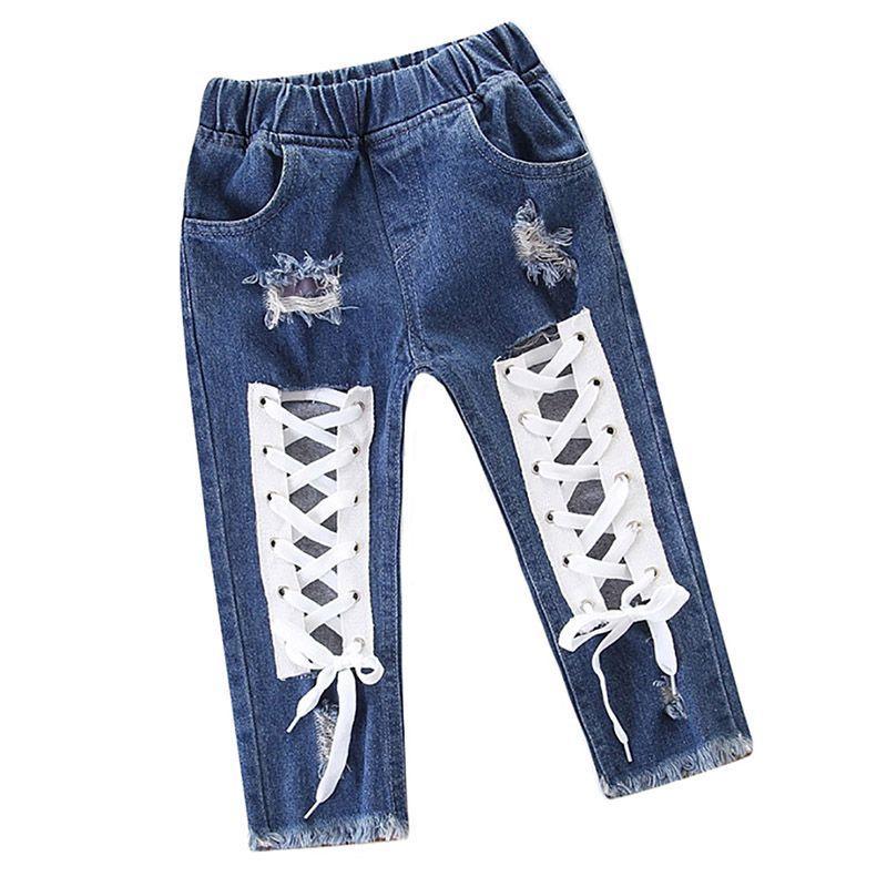 ec559aa2b3 Compre 2018 Baby Girl Boy Ropa Verano Explosión Niñas Vendajes Pantalones  Huecos Chica Pantalones Vaqueros Pantalón A  35.84 Del Cover3085