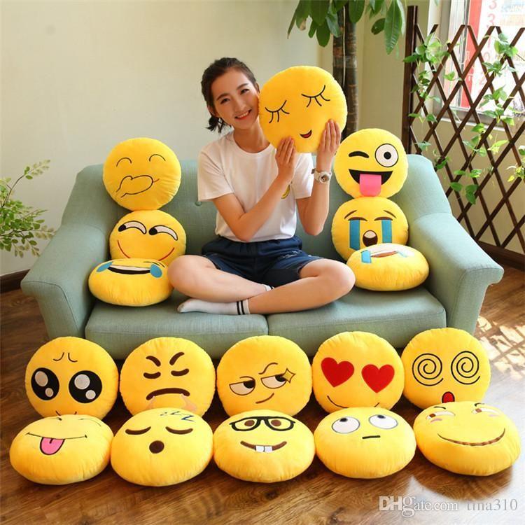 Hot 40Styles 31CM Soft Emoji Smiley Emoticon Round Cushion Pillow Sofa  Stuffed Plush Toy Doll emoji Pillow emoji Cushion IB229