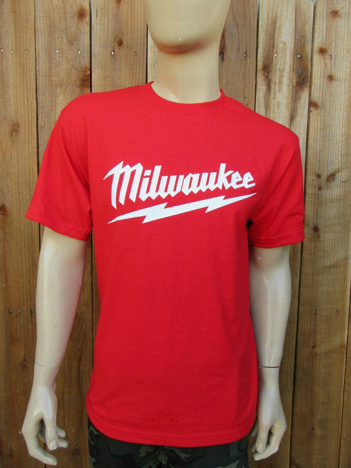 Milwaukee Red T Shirt Power Tool Tee Drill T Shirt Set Aaa Men Mens