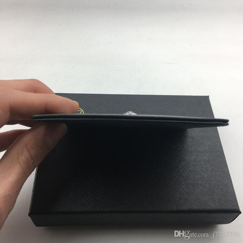 Classic Black Genuine Leather Credit Card Holder Wallet Top Quality Thin Bank ID Card Case Star MB Designer Coin Pocket Bag Small Purses