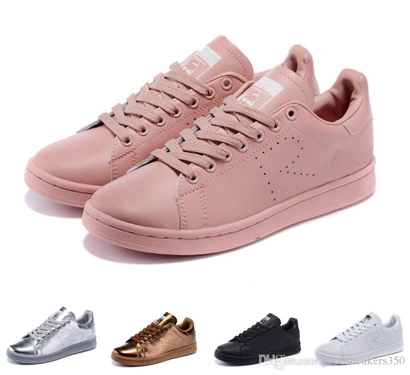 official photos ad329 19d85 italy acquista hot raf simons adidas stan smith spring rame bianco rosa  nero fashion shoe uomo