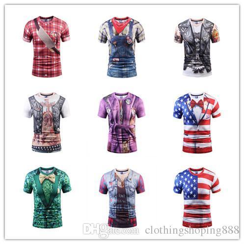 f2673376403a Fake Vest Tattoo Men T Shirts 3D T Shirt Skull Short Sleeve Hip Hop Fashion  Tee Shirt Homme Slim Fit Halloween Cosplay T-shirt Printing T-shirt Machine  ...