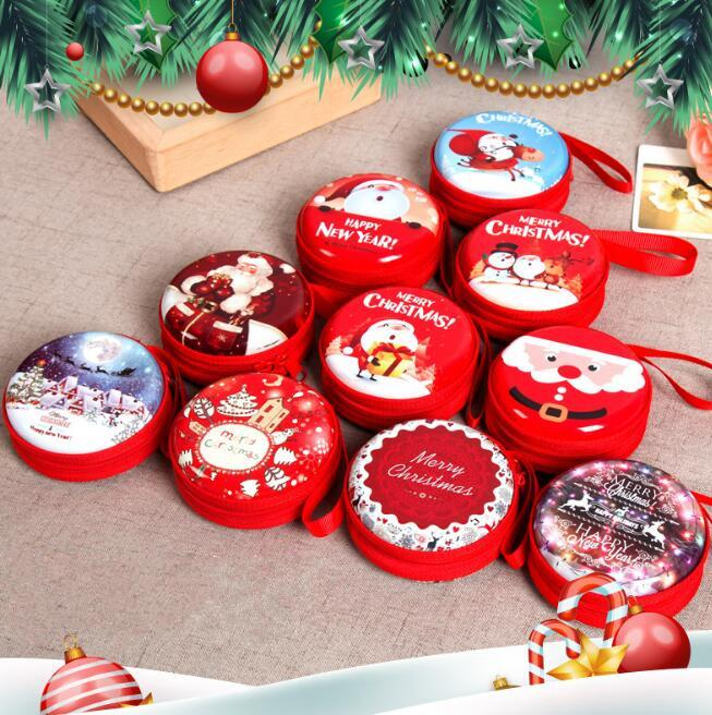 Christmas Coin Purse Headset Bag Key Case Wallet Portable Storage Hold Case Cartoon Christmas gift Tree Pendant Party Favor GGA778 200pcs
