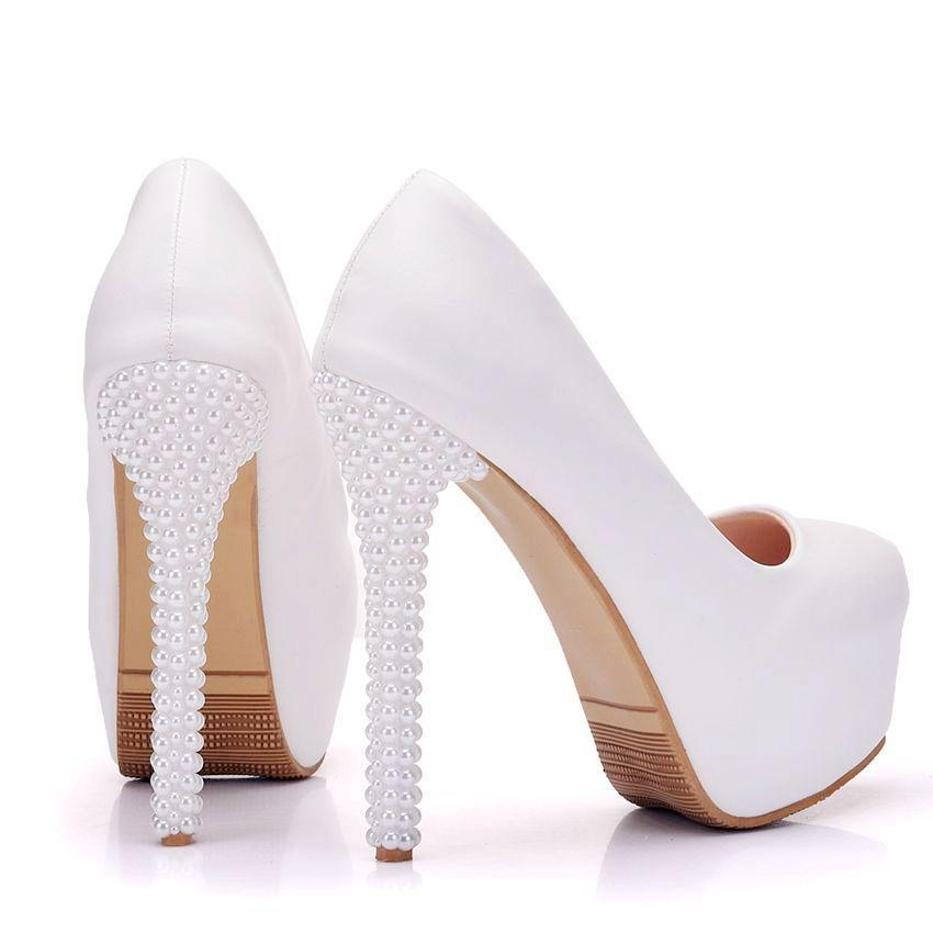 New handmade elegant Round toe shoes for women simple style high heel wedding shoes pearls thin heels Plus Size bride Shoes