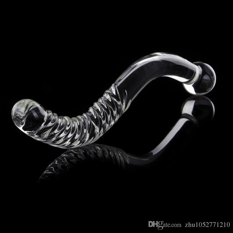 New Big Long Double Bead Crystal Glass Dildo Fake Penis Anal Butt Plug Vagina Clit Stimulator Female Gay Masturbation Sex Toys