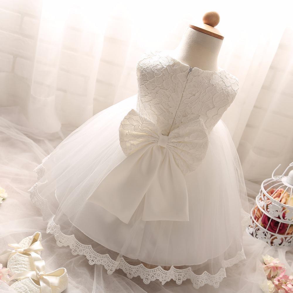 9cb7d61f7 Compre Verano Blanco Recién Nacido Bautismo Vestidos De Las Muchachas Del Bebé  1 Año De Cumpleaños Fiesta De Bautizo Princesa Infantil Vestido De Niña De  ...