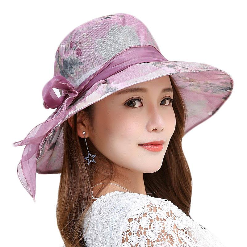 a681118e4 Summer Foldable Cotton Bow Beach Sun Hats for Women Fashion Design Female  Wide Brim Bucket Beach Sun Hat Ladies Elegant Headwear