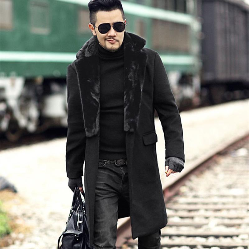 1da3b89f7c 2019 Men New Winter Black Woolen Fur Collar Long Coat European Style  Metrosexual Man Brand Design Warm Stretch Outwear Slim Coat C18111601 From  Lizhang03