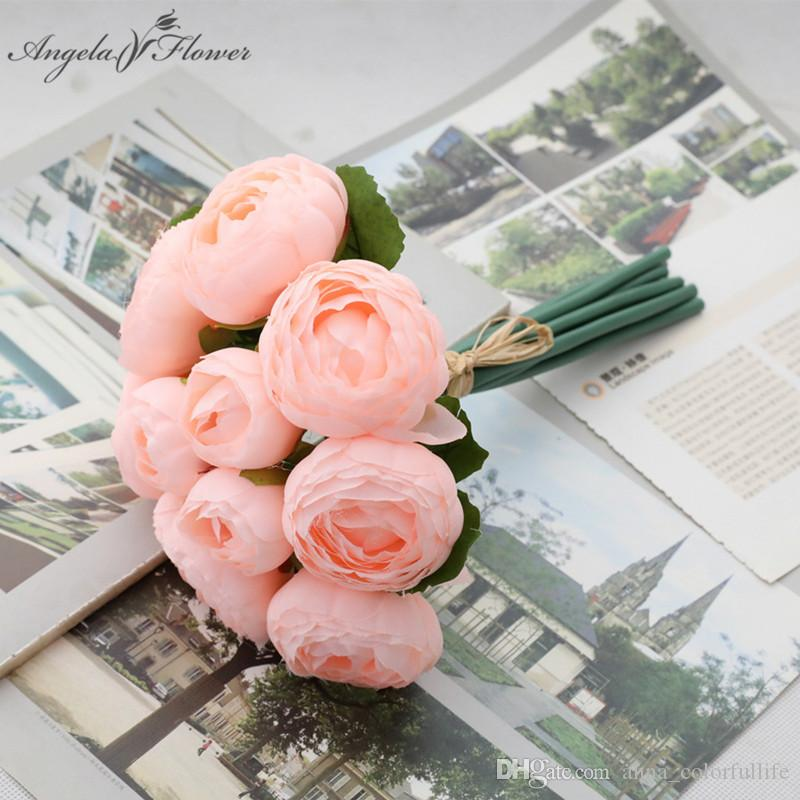 How To Make A Wedding Bouquet With Artificial Flowers.2019 10heads Bouquet Artificial Bridal Bouquet Rose Diy Hand Flower
