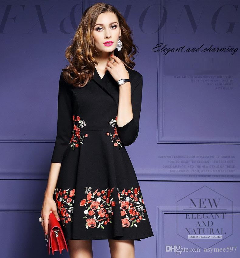 Women Spring   Autumn Embroidery Dresses 5985a562c
