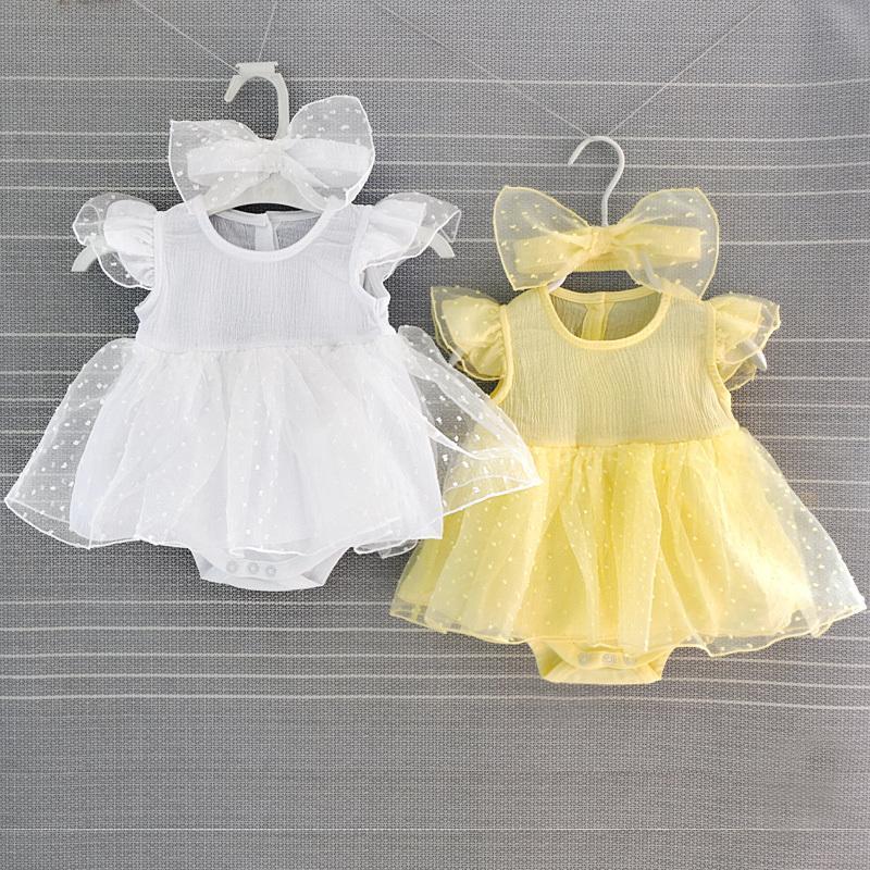 0ef967ad86d3 Ruffle Sleeve Baby Girls Dress Withe Summer Newborn Lace Dresses ...