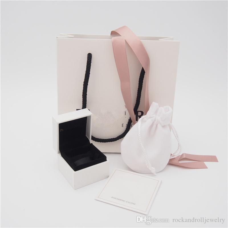 L'insieme dei monili di alta qualità Pacchetto scatola di carta cartone Bag Style 2 Panno del sacchetto Pandora Orecchini Anello branello di fascino ciondola Moda