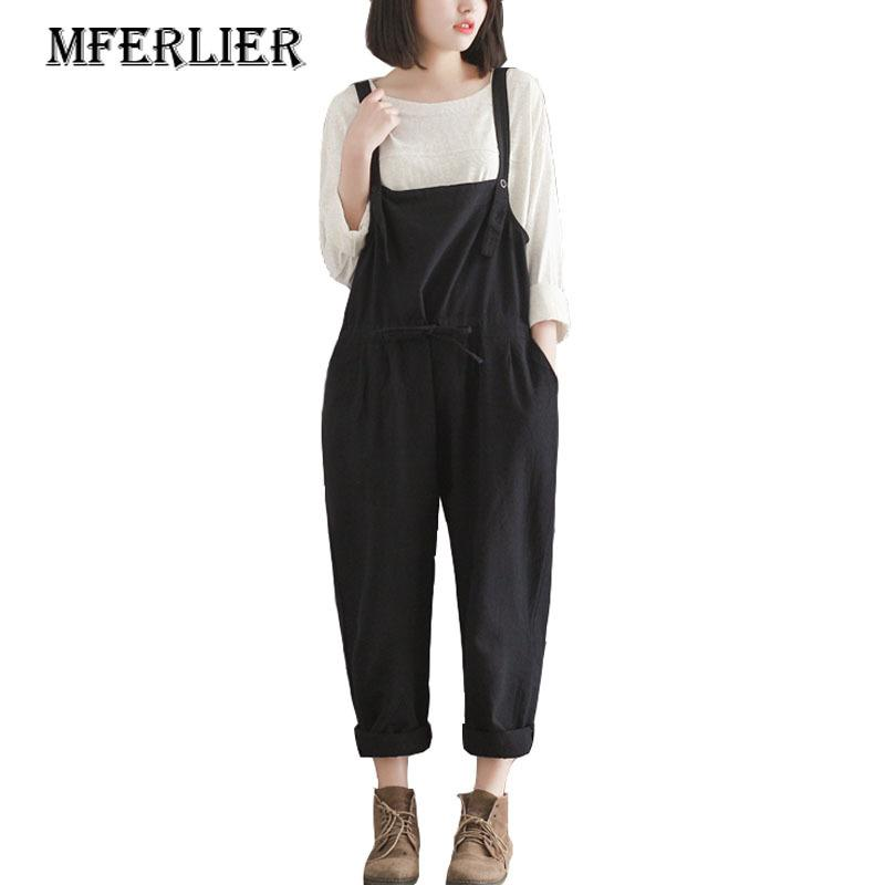 20cabfbe375 Woman Overalls Harembroek Black Cotton Plus Size Pants Casual Loose  Trousers Women Summer Pants Wide Leg Pants D1892603 UK 2019 From Shen06