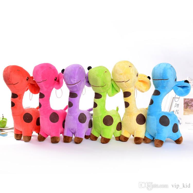 18 CM Giraffe deer Stuffed Animals doll Car window decoration Sucker pendant Stuffed Animals Toy Holiday gifts 5 colors to choose