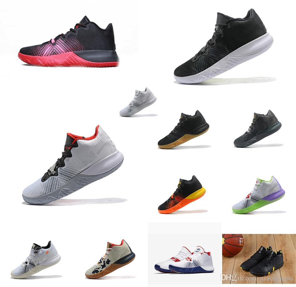 huge selection of 5a7ef bfdb0 Mens kyrie flytrap basketball shoes for sale USA Triple Black Wolf Grey  White Red Bred Rainbow kyries irving low sneakers tennis with box