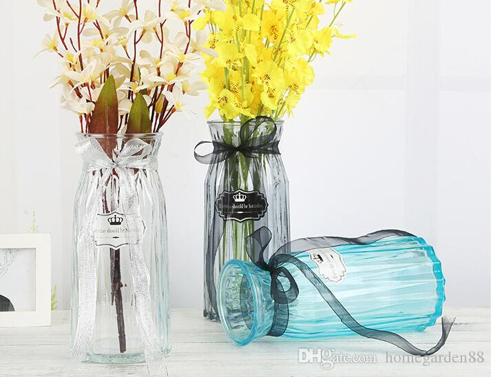 Colored Glass Vase Transparent Origami Vase Flower Inserter Creative
