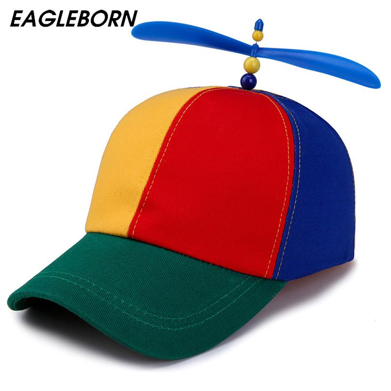 7b851d432ce31 Summer Korean Child Adult Adjustable Propeller Ball Baseball Cap Dragonfly  Top Multi Color Patchwork Funny Clown Sun Cap Costume Caps Hats Fitted Cap  From ...