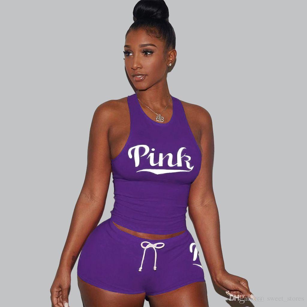 LOVE PINK Summer Two Piece Set Women Sexy Tracksuit Ensemble Femme Beach Tank VS Suit Vest Crop Top+ Shorts Bodysuit Outfits Suit Plus Size