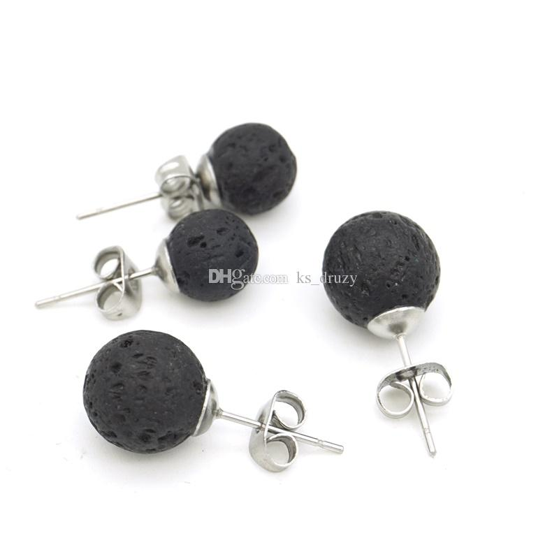 New Stainless Steel Stud 8mm 10mm Black Lava Rock Stone Bead Earrings DIY Aromatherapy Essential Oil Diffuser Earrings Jewelry