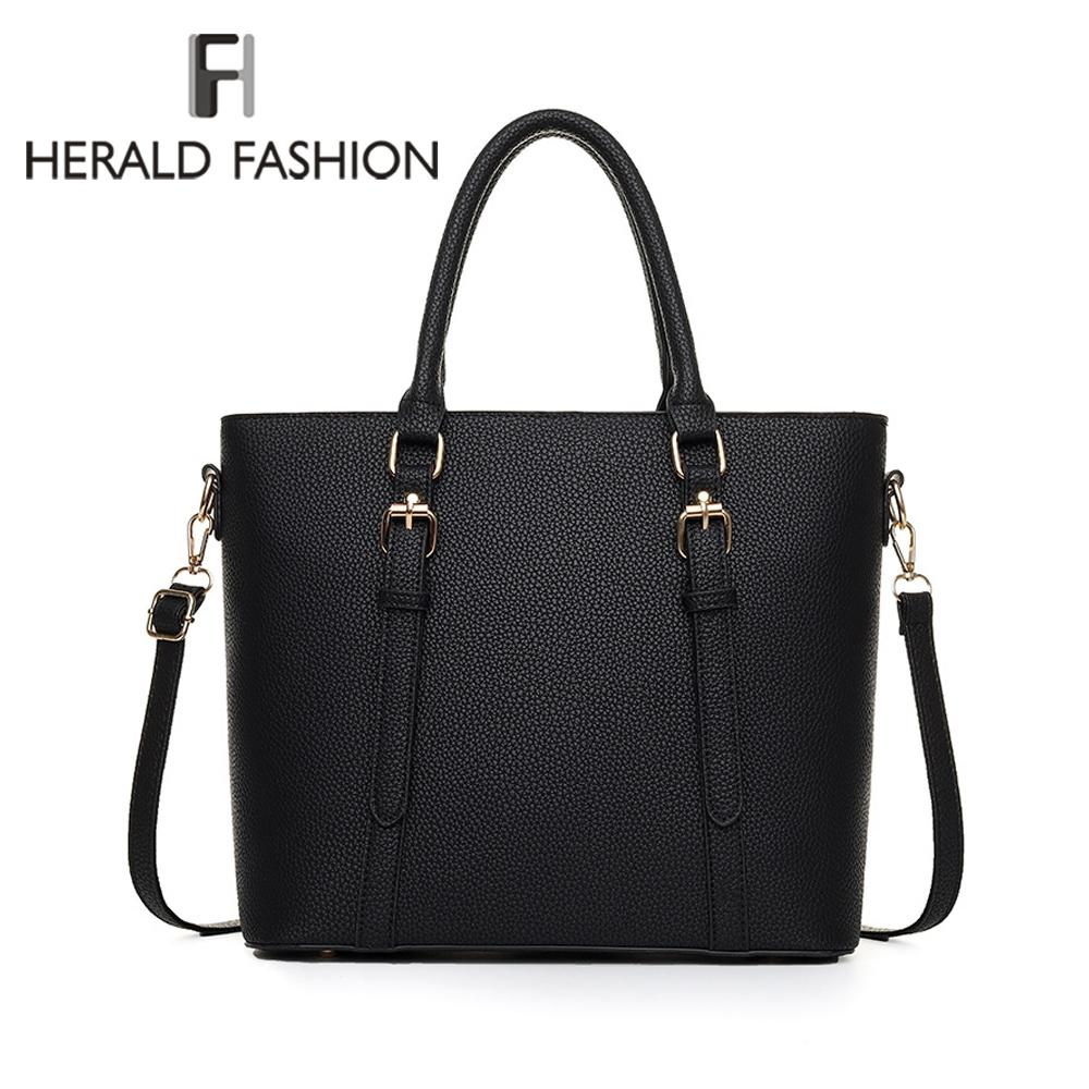 a89453f8ae7 Herald Fashion New Leather Tote Bag Women Handbags Designer Large ...